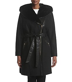 Via Spiga® Plus Size Faux Fur Hooded Asymmetrical Zip Coat