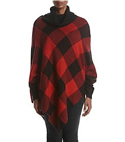 Relativity® Plus Size Cowl Neck Check Poncho