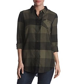 Ruff Hewn Plaid Button Up Tunic Top