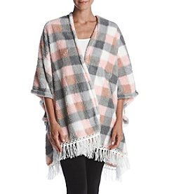 Zoe&Bella@BT Fleece Checker Pattern Fringe Poncho