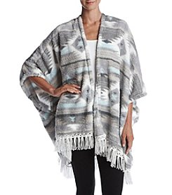 Zoe&Bella @BT Fleece Southwest Pattern Fringe Poncho