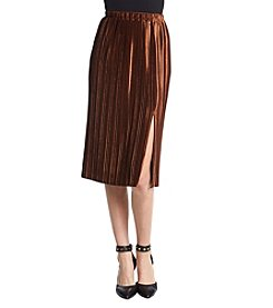 June & Hudson Rust Pleated Skirt