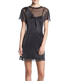 Be Bop Glitter Mesh Ruffle Front Shift Dress