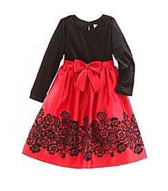 Rare Editions Girls 4-6X Long Sleeve Velvet Skirt Dress