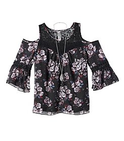 Beautees Girls' 7-16 Cold Shoulder Print Lace Top