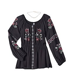 Beautees Girls' 7-16 Embroidered Peasant Top