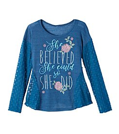 Miss Attitude Girls 7-16 2 Piece Lace Trim Tee