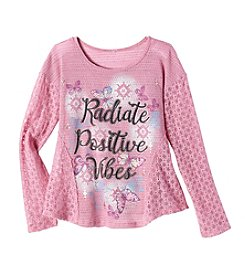 Miss Attitude Girls' 7-16 Lace Trim Positive Tee