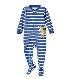 Carter's Baby Boys' 2T-4T Striped Moose Fleece Sleep And Play