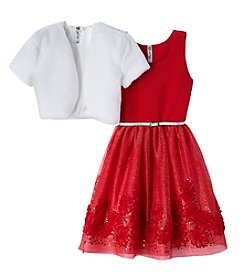 Beautees Girls' 7-16 Rosette Dress With Faux Fur Vest