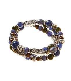 Ruff Hewn Silvertone Stacked Stretch Beaded Bracelet