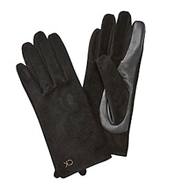 Calvin Klein Leather Solid Colorblock Glove