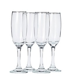 Living Quarters 4 Piece Flute Glass Set