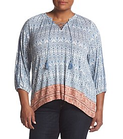 Vintage America Blues® Plus Size Hacci Embroidered Sleeve Top