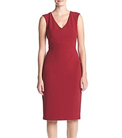 Ivanka Trump® Scuba V-Neck Cap Sleeve Dress