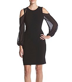 Ivanka Trump® Cold Shoulder Sheer Sleeve Dress