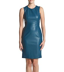 Calvin Klein Faux Leather Sheath Dress
