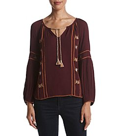 Hippie Laundry Embroidered Front Peasant Top