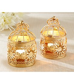 Kate Aspen Set of 6 Gold Floral Lanterns