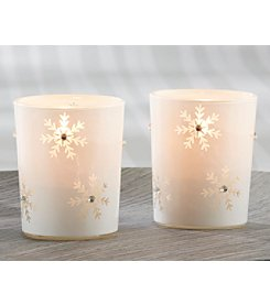 Kate Aspen Set of 12 Sparkling Snowflake White Glass Tea Light Holders
