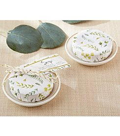 Kate Aspen Set of 6 Botanical Wrapped Soap with Ceramic Trinket Dishes
