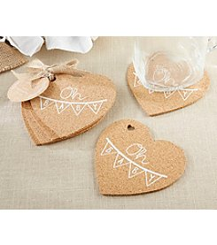 Kate Aspen Set of 12 Oh Baby Heart Cork Coaster