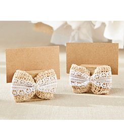 Kate Aspen Set of 12 Burlap Bow Place Card Holder