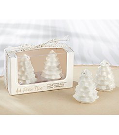 Kate Aspen Set of 6 White Ceramic Pine Tree Salt & Pepper Shakers