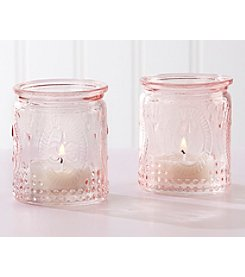 Kate Aspen Set of 12 Vintage Pink Glass Tea Light Holders