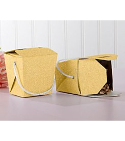 Kate Aspen Set of 12 Gold Glitter Takeout Boxes