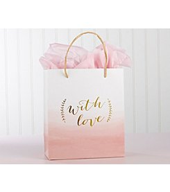 Kate Aspen Set of 12 With Love Pink Watercolor Gift Bags