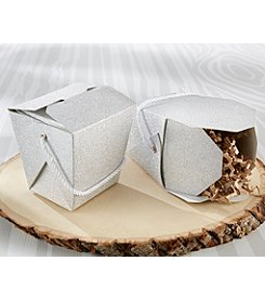 Kate Aspen Set of 12 Silver Glitter Take Out Boxes