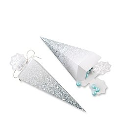 Kate Aspen Set of 12 Silver Glitter Snowflake Cone Favor Boxes