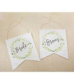 Kate Aspen Botanical Canvas Bride and Groom Chair Signs