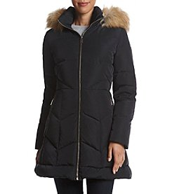 Ivanka Trump® Fit & Flare Coat With Faux Fur Hood