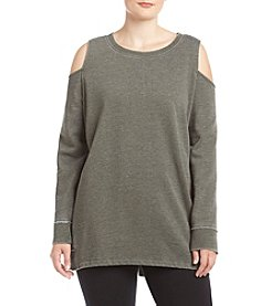 Calvin Klein Plus Size Distressed Cold Shoulder Top