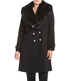 Ivanka Trump® Plus Size Faux Fur Shawl Collar Coat