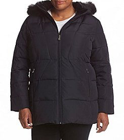 Calvin Klein Plus Size Faux Fur Hood Box Quilt Coat