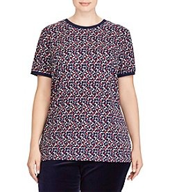 Lauren Ralph Lauren Plus Size Geometric Pattern Top