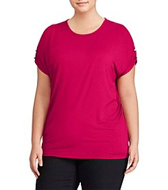 Lauren Ralph Lauren Plus Size Button Detail Top