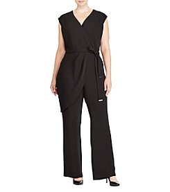 Lauren Ralph Lauren Plus Size Asymmetrical Wrap Tie Belt Jumpsuit
