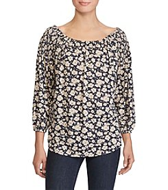 Lauren Ralph Lauren® Petites' Floral Print Smocked Shoulder Top