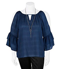 A. Byer Plus Size Cold Shoulder Keyhole Tiered Top