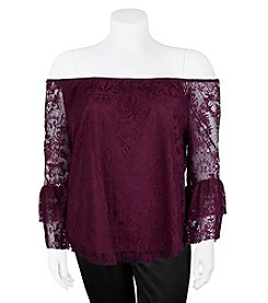 A. Byer Plus Size Lace Off The Shoulder Lace Top