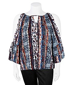A. Byer Plus Size Cold Shoulder Abstract Print Top