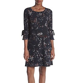 AGB® Floral Print Ribbed Trapeze Dress