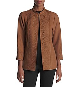 Alfred Dunner® Laser Cutout Faux Suede Jacket