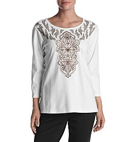 Alfred Dunner® Scroll Embroidered Yoke Top