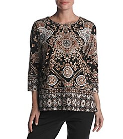 Alfred Dunner® Medallion Border Top