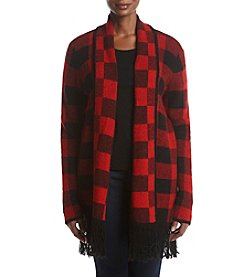 Ruff Hewn Plus Size Plaid Pattern Fringe Hem Cardigan